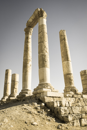 Classical period columns at the Amman Citadel, Jordan
