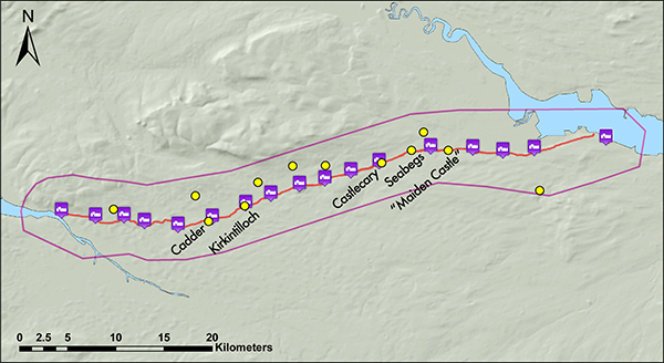Distribution of medieval mottes along the Antonine Wall, from Rohl 2014