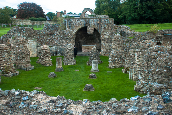 Ruins of the crypt at Saint Augustine's Abbey in Canterbury, England.