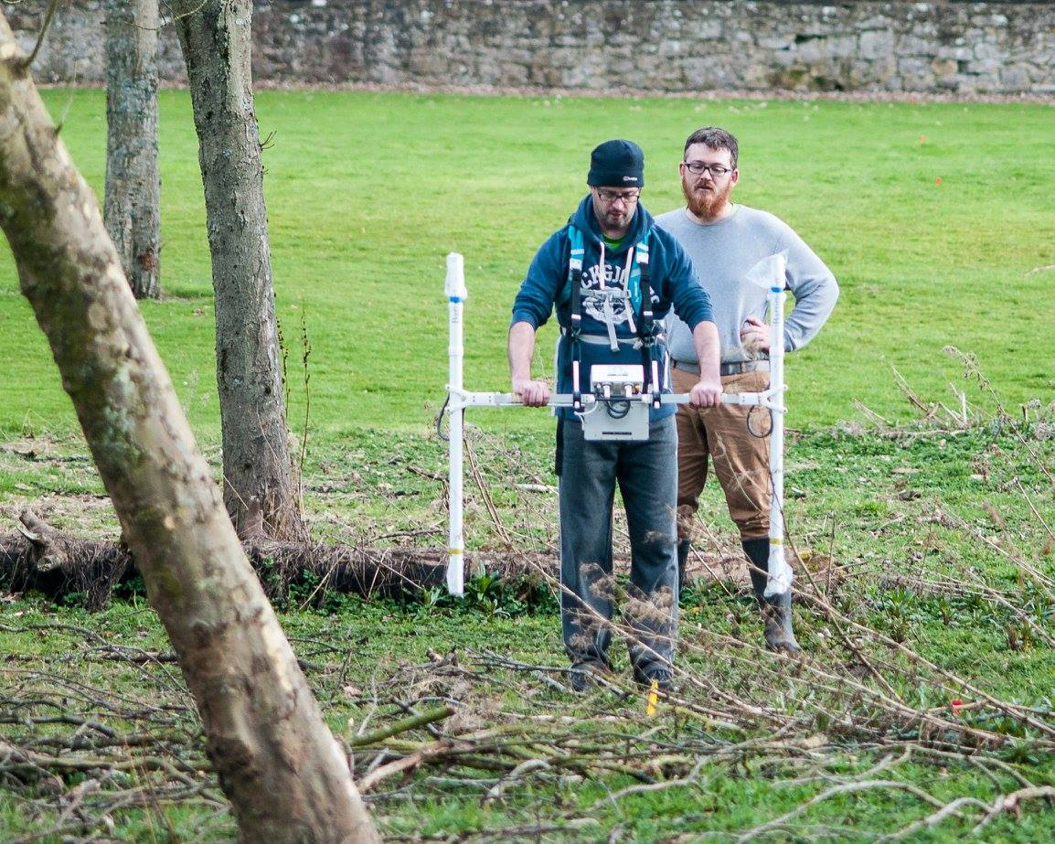 A terrible photo of me supervising PhD geophysical fieldwork at Kinneil, on the Antonine Wall in Scotland