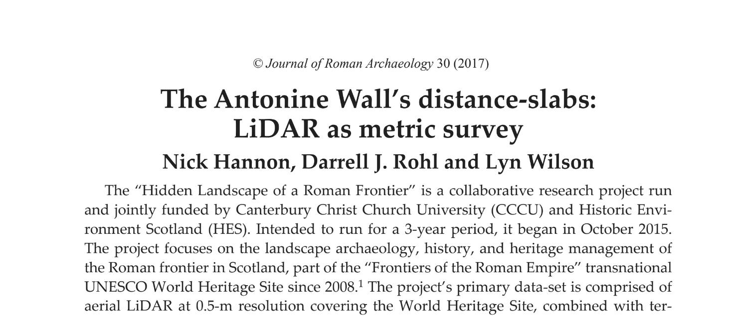 short preview of The Antonine Wall's Distance-slabs: LiDAR as metric survey journal article by Hannon, Rohl and Wilson