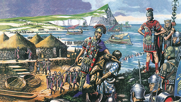 Artist's depiction of the Roman invasion of Britain
